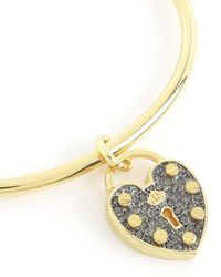 Juicy Couture | Metallic Pave Heart Padlock Slider Bangle Bracelet | Lyst