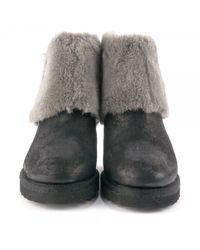 Ash - Gray Yorki Softy Fur Wedge Boots - Lyst