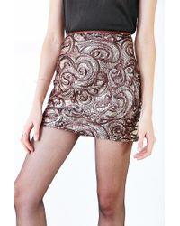 Silence + Noise | Brown Sequin Mini Skirt | Lyst