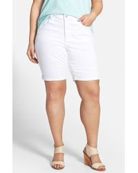 NYDJ | White 'briella' Roll Cuff Stretch Denim Shorts | Lyst