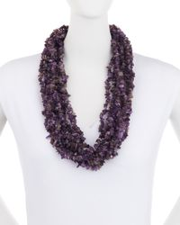 Kenneth Jay Lane - Purple Multi-strand Chip Beaded Antique Style Necklace - Lyst