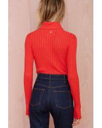Nasty Gal - Orange Knitz By For Love And Lemons Snuggler Ribbed Bodysuit - Lyst