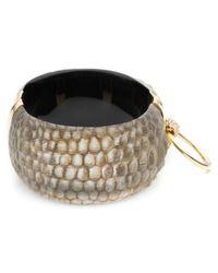 Alexis Bittar Metallic Croc Ring Hinge Bracelet