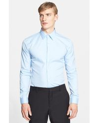 Burberry | Blue 'seaford' Trim Fit Dress Shirt for Men | Lyst