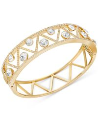 Swarovski | Metallic Gold-tone Crystal Art Deco Bangle Bracelet | Lyst