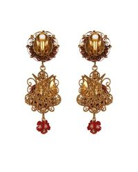 Dolce & Gabbana | Metallic Filigree Rose Clip-On Earrings | Lyst