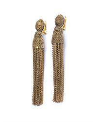 Oscar de la Renta | Metallic Chain Tassel Earrings | Lyst