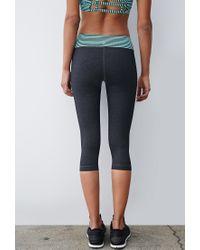 Forever 21 - Gray Heathered Stripe-waist Capri Leggings - Lyst