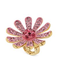 Betsey Johnson - Goldtone Crystal Pave Pink Flower Stretch Ring - Lyst