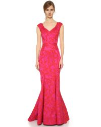 Zac Posen | Pink Cap Sleeve Gown | Lyst