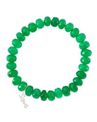 Sydney Evan | 8Mm Faceted Green Onyx Beaded Bracelet With 14K White Gold/Diamond Small Love Charm (Made To Order) | Lyst