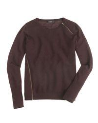 J.Crew - Brown Merino Asymmetrical Zip Sweater - Lyst