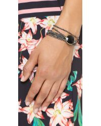 Sogoli - Metallic Stone Chain Wrap Bracelet - Gunmetal/black/gold - Lyst