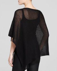 Eileen Fisher - Black Open Knit Poncho - Lyst