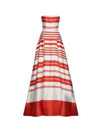 Alice + Olivia - Orange Aubrey Strapless Gown With Pockets - Lyst