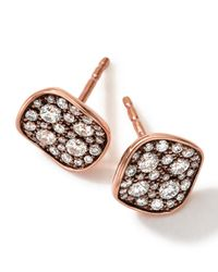 Ippolita | Pink 18k Rose Gold Pave 2-disc Earrings With Diamonds | Lyst