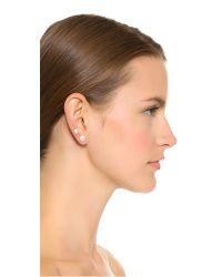 Auden - White Barbell Earrings - Pearl/gold - Lyst