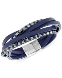 Swarovski - Blue Stainless Steel Crystal White Leather Wrap Bracelet - Lyst