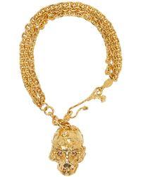 Alexander McQueen - Metallic Gold Forest Rose Skull Charm Bracelet - Lyst