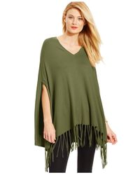 Michael Kors | Green Michael Fringed V-neck Poncho | Lyst
