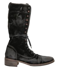 John Varvatos Black Sand Washed Velvet Lace Up Boots for men