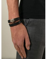 Ferragamo | Black Gancio Wrap Bracelet for Men | Lyst