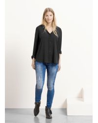 Violeta by Mango | Black Flowy Blouse | Lyst