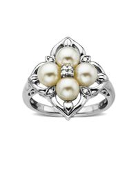 Lord & Taylor | White Pearl And Diamond-accented Ring | Lyst