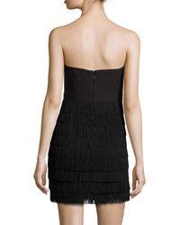 Aidan Mattox | Black Tiered Fringe Strapless Mini Dress | Lyst