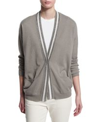 Brunello Cucinelli - Green Rugby-striped 2-ply Cashmere Cardigan - Lyst