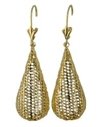 Lord & Taylor | 14k Yellow Gold Textured Teardrop Earrings | Lyst