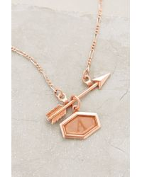 Anthropologie | Pink Inscribed Arrow Necklace | Lyst