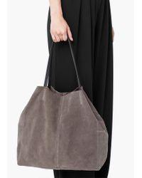Mango - Gray Suede Shopper Bag - Lyst