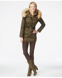 Jones New York | Green Faux-fur-hood Down Belted Jacket | Lyst