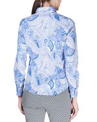 Etro - Blue Long-sleeve Paisley-print Blouse - Lyst