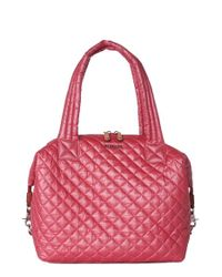 MZ Wallace | Pink 'large Sutton' Quilted Oxford Nylon Satchel | Lyst