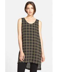 Eileen Fisher - Brown Scoop Neck Plaid Print Silk Tunic - Lyst