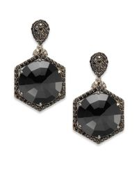 Bavna | Black Spinel, Diamond And Sterling Silver Drop Earrings | Lyst