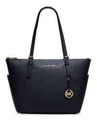 MICHAEL Michael Kors | Blue Jet Set East West Leather Tote Bag | Lyst