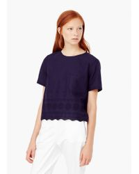 Mango - Blue Embroidered Cotton Blouse - Lyst