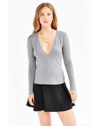 Silence + Noise - Gray Plunge V-neck Top - Lyst
