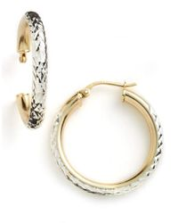 Lord & Taylor | Metallic 18 Kt Gold Over Sterling Silver Textured Hoop Earrings | Lyst