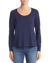 Eileen Fisher | Blue Organic Cotton Scoop Neck Top | Lyst