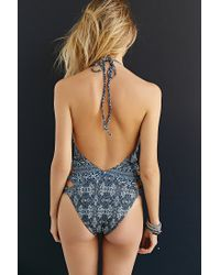 Gypsy 05 - Blue Printed Halter One-Piece Swimsuit - Lyst