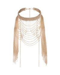 River Island | Metallic Gold Tone Draped Choker Necklace | Lyst