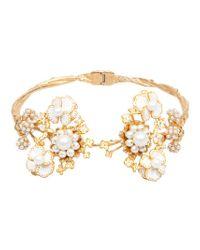 Alexander McQueen - Metallic Floral Torque Bracelet - Lyst