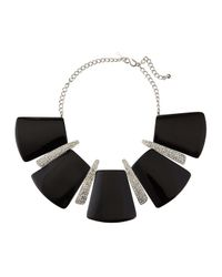 Kenneth Jay Lane | Geometric Black Enamel Station Necklace | Lyst