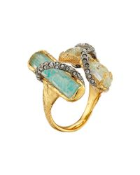 Alexis Bittar | Metallic Multi Stone Encrusted Vine W/ Custom Aqua Crackle Crystal & Amazonite Doublet Cocktail Ring | Lyst