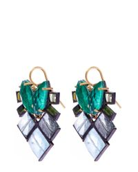 Nak Armstrong | Green Gemstone Mosaic Drop Earrings | Lyst