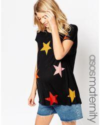 ASOS - Black T-shirt In Slouchy Rib With Star Print - Lyst